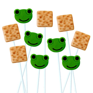 Passover Seder frog matzah combination marzipan candy lollipops for ten plagues