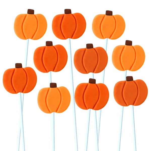 Thanksgiving orange pumpkins marzipan candy lollipops