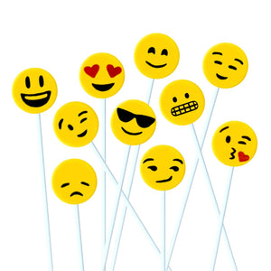 yellow emoji marzipan candy lollipops