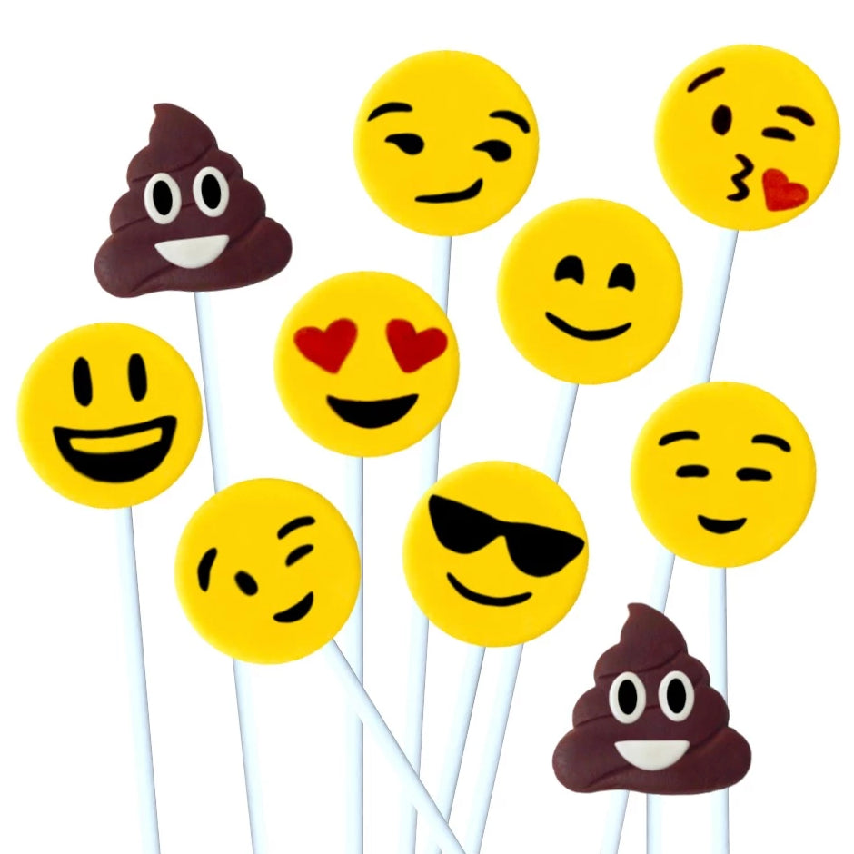 yellow emoji and poop marzipan candy lollipops