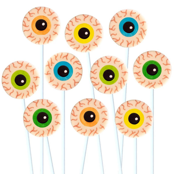 Halloween creepy eyeballs marzipan candy lollipops
