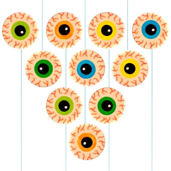 creepy Halloween eyeballs marzipan candy lollipops