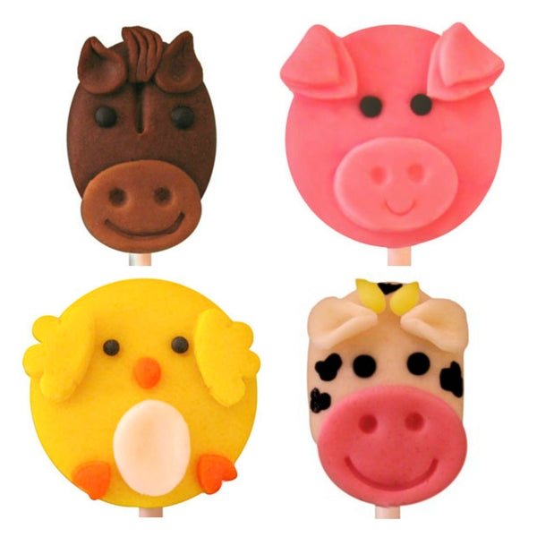 cow, chick, pig and horse farm animals marzipan candy lollipops