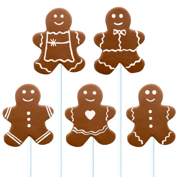Christmas gingerbread people marzipan candy lollipops