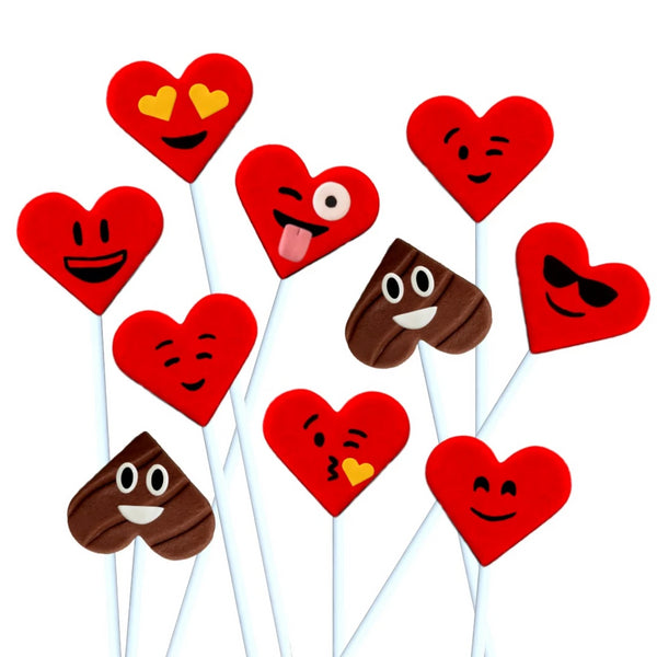 Valentine's Day red emoji hearts with poop marzipan candy lollipops