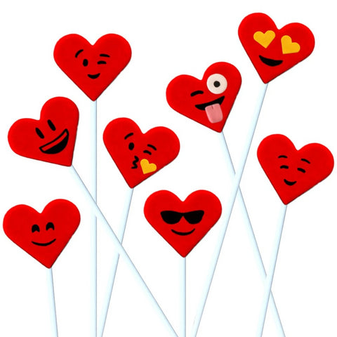 Valentine's Day red emoji hearts marzipan candy lollipops