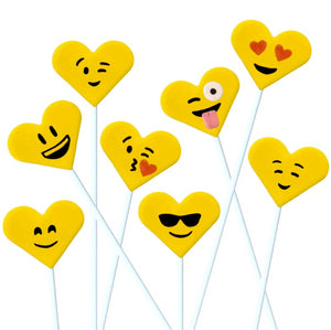 Valentine's Day yellow emoji hearts marzipan candy lollipops