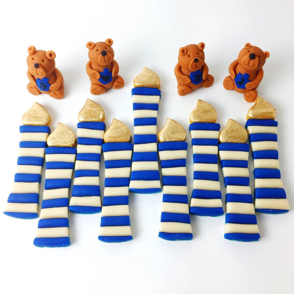 Hanukkah candles and teddy bears marzipan candy treats