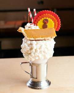 giant Thanksgiving turkeys marzipan candy lollipops in a milkshake