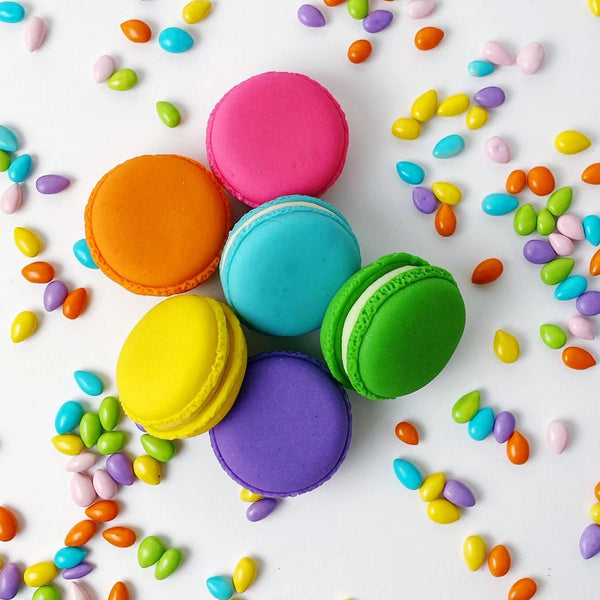 rainbow french macarons marzipan candy sculpture treats