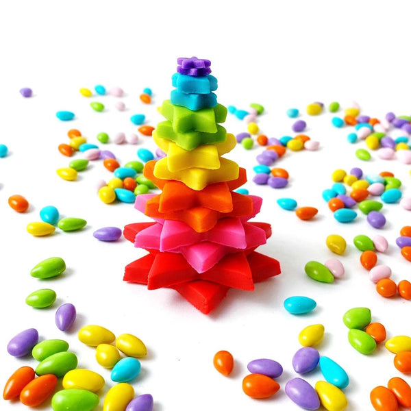 rainbow Christmas tree marzipan candy sculpture treat