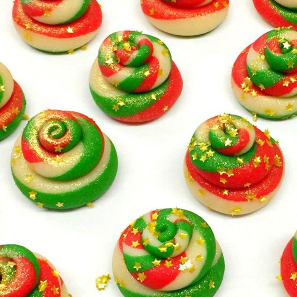 christmas reindeer poop marzipan candy sculpture treats close up