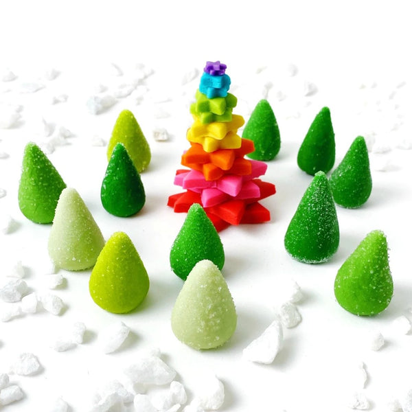 rainbow Christmas tree and sparkly green trees marzipan candy sculpture treats far view