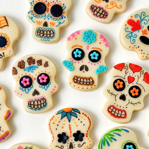 Halloween Day of the Dead modern sugar skull marzipan candy tiles flatlay