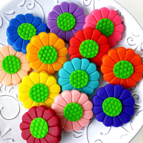 rainbow flower marzipan candy tiles closeup