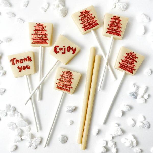 chinese takeout food boxes marzipan candy lollipops