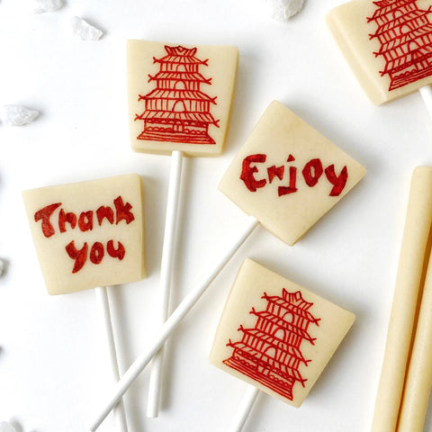 chinese takeout food boxes marzipan candy lollipops super close