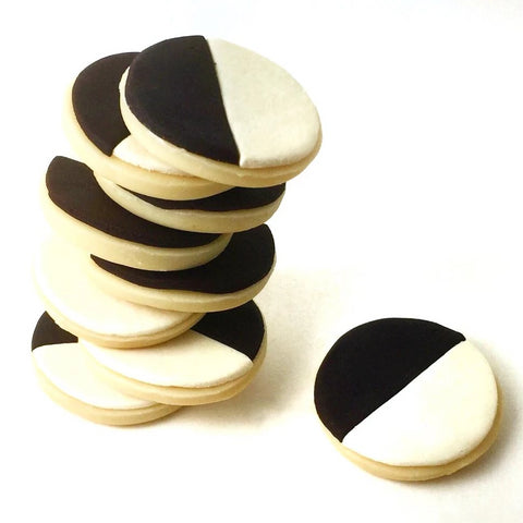 black & white cookies marzipan candy sculpture treats