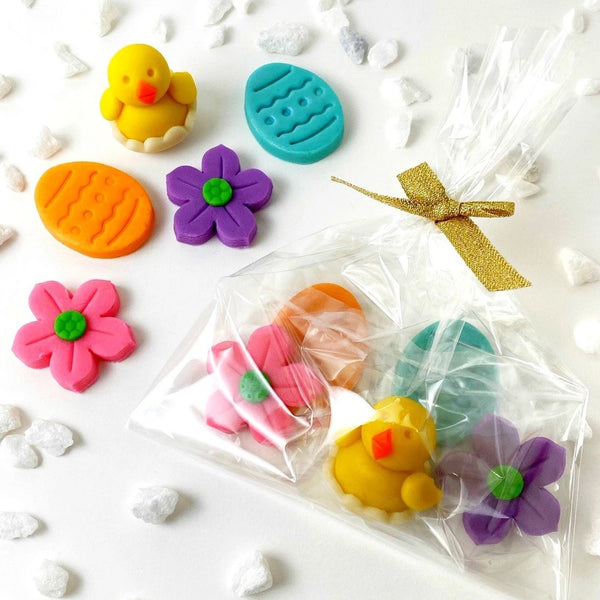 Easter marzipan treat bag with chicks, eggs and flowers