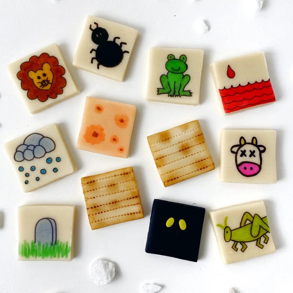 passover seder ten plagues and matzah marzipan tiles
