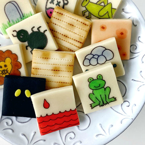passover seder ten plagues and matzah marzipan tiles close up