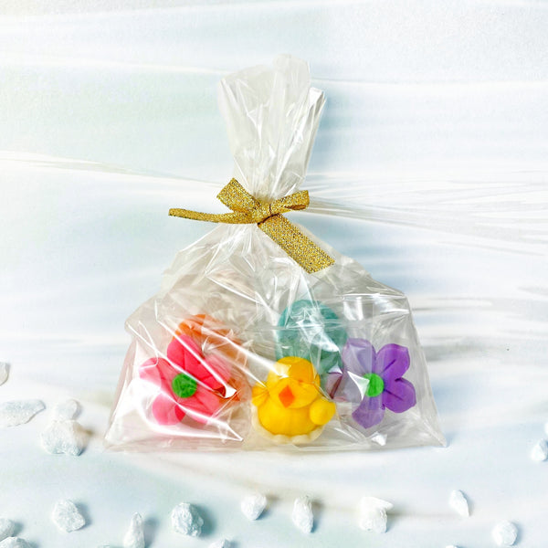 Easter marzipan treat bag with chicks, eggs and flowers single
