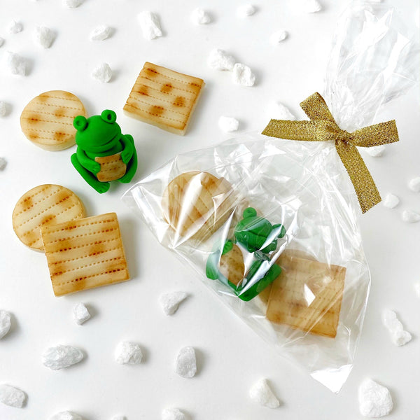 Passover marzipan treat bag with frogs and matzahs