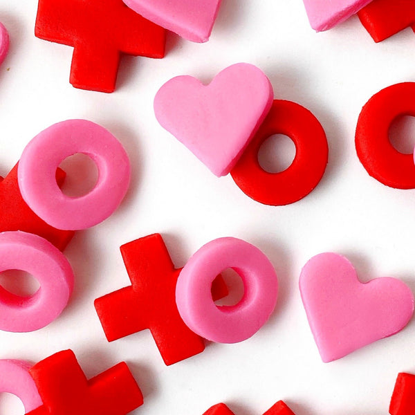Valentine's Day x's and o's mini marzipan candy bites close up