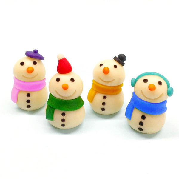 winter and Christmas snowmen marzipan candy sculpture treats