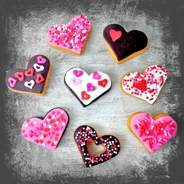 Valentine's Day donut doughnut hearts marzipan candy sculpture treats smudge