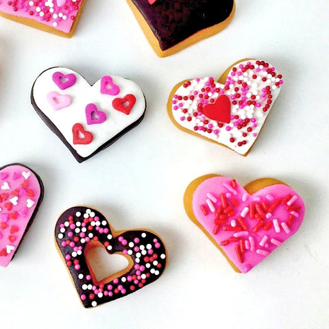 Valentine's Day donut doughnut hearts marzipan candy sculpture treats close up