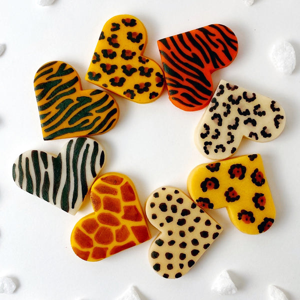 Valentine's Day animal print marzipan heart tiles