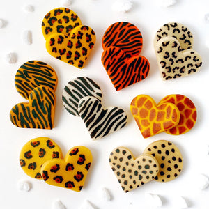 Valentine's Day animal print marzipan heart and round tiles