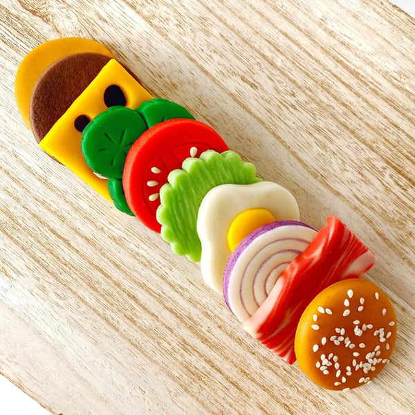 picnic foodie hamburger marzipan candy treats on a plate