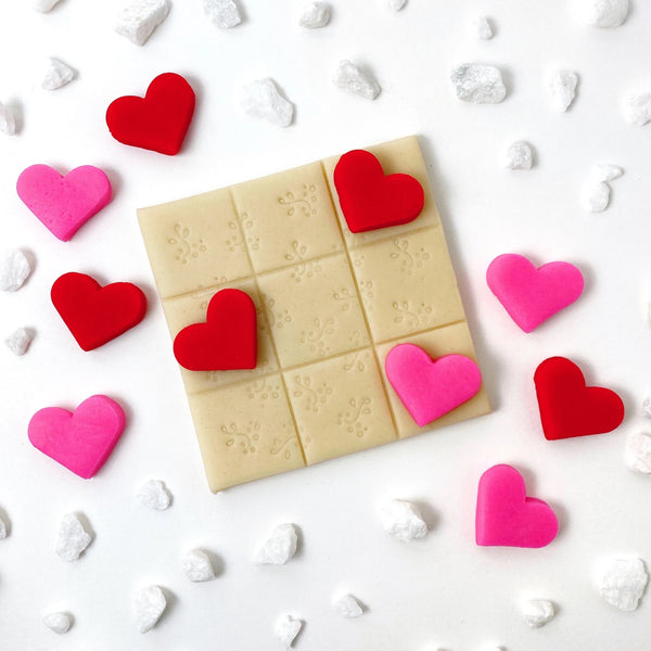 Valentine's Day hearts tic tac toe marzipan candy treats
