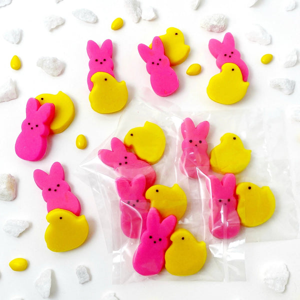 Easter peeps chicks & bunnies mini marzipan candy bite duets