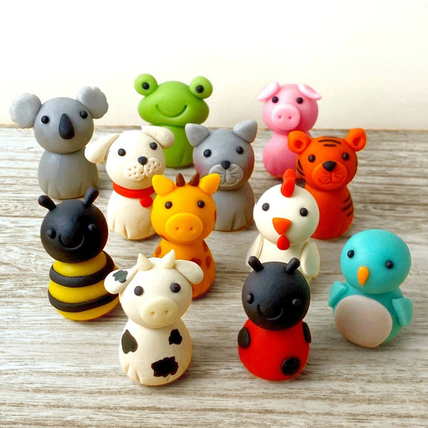 cute animal menagerie assorted marzipan candy sculptures