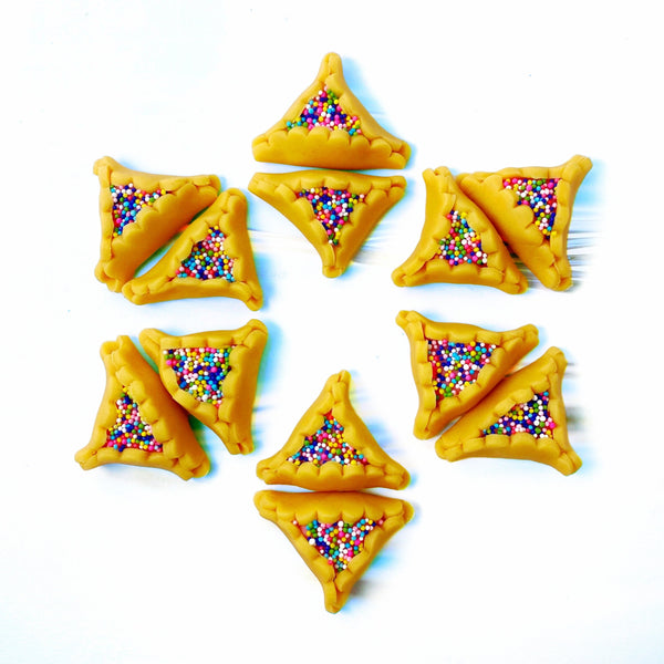 Purim vegan gluten-free purim sprinkle hamantaschen marzipan candy sculpture treats in a star