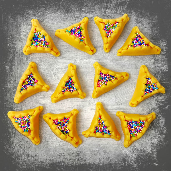 Purim vegan gluten-free purim sprinkle hamantaschen marzipan candy sculpture treats