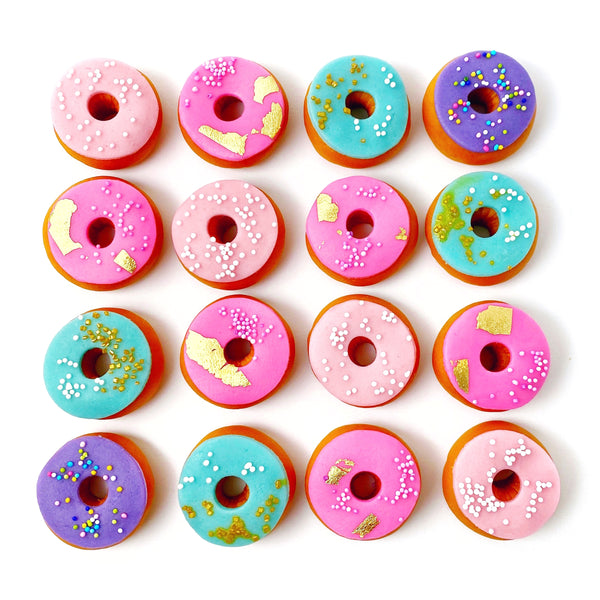 mini marzipan donuts sprinkles candy sculpture treats flatlay