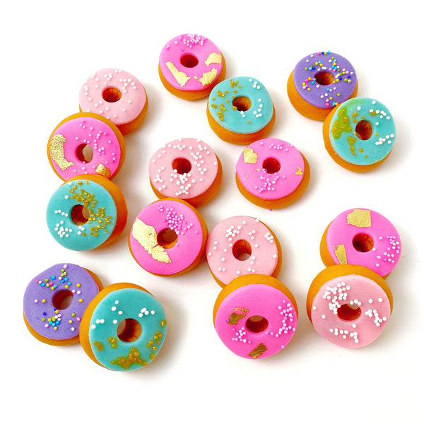mini marzipan donuts sprinkles candy sculpture treats