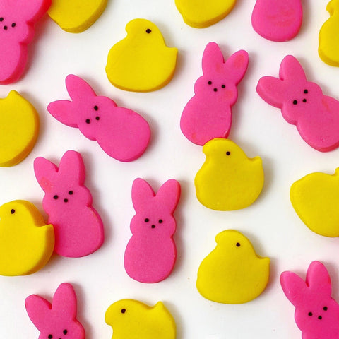 Easter peeps chicks & bunnies mini marzipan candy bites closeup