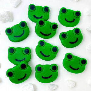 Passover green frogs mini marzipan candy bites flat lay