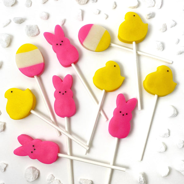 Easter peep chicks & bunnies marzipan candy lollipops full set
