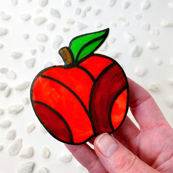 rosh hashanah stained glass marzipan apples in hand