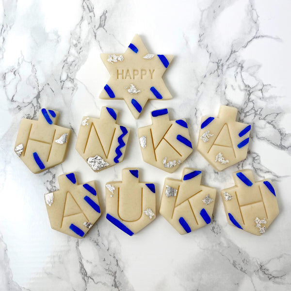 Happy Hanukkah greetings marzipan candy tile treats