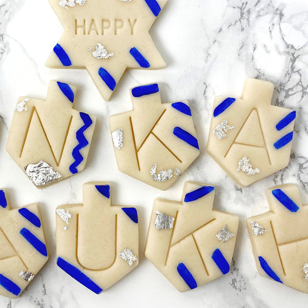 Happy Hanukkah greetings marzipan candy tile treats closeup