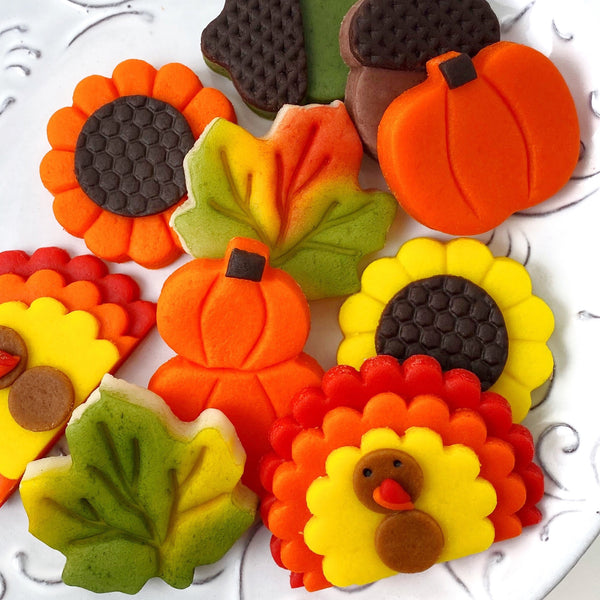 Thanksgiving collection with pumpkins, turkeys, sunflowers, maple leaves and acorns marzipan candy tiles
