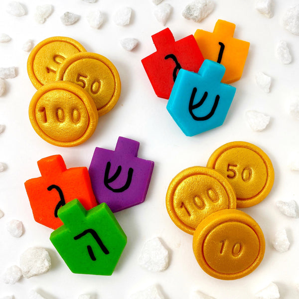Hanukkah dreidel and gold gelt marzipan candy tiles dozen