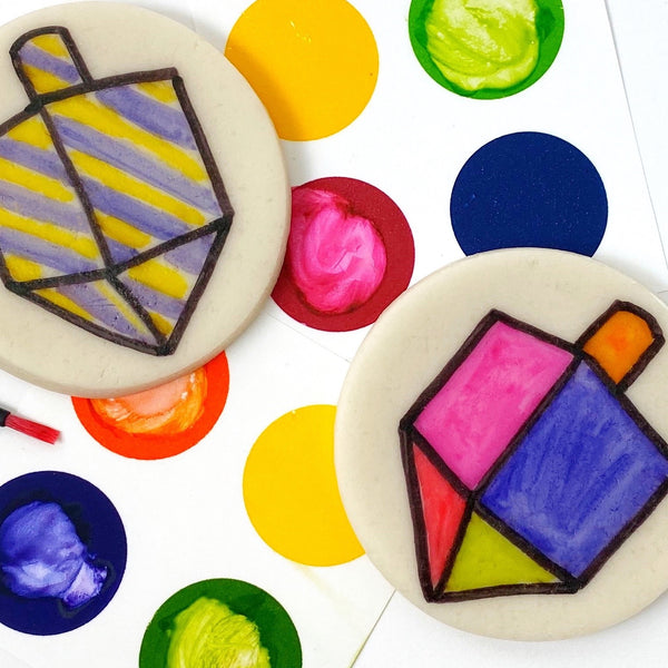 Hanukkah paint your own dreidels marzipan candy treats close up